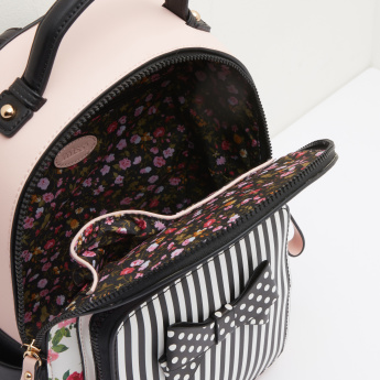 Missy Floral Printed Backpack with Bow Detail and Striped Front Pocket