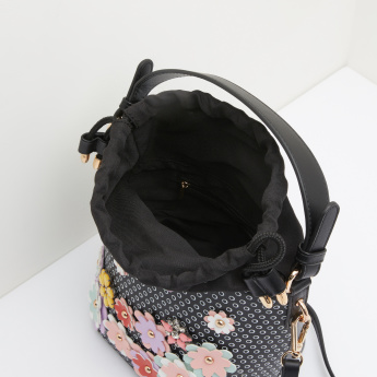Missy Bucket Bag with Applique Detail and Drawstring Closure