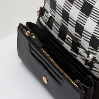Missy Chequered Flap Wallet with Metallic Chain