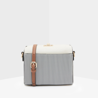 Celeste Striped Crossbody Bag with Twist Lock Closure