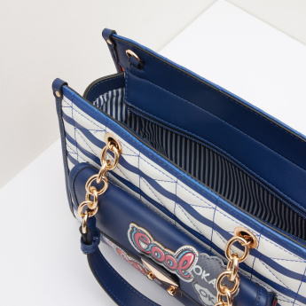 Missy Striped Handbag with Badge Detail