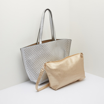 Missy Laser Cut Detail Tote Bag with Pouch