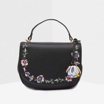 Missy Embroidered Satchel Bag with Magnetic Snap Closure