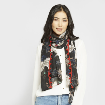 Celeste Printed Scarf with Hem Detail