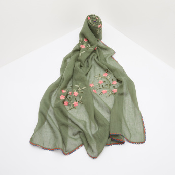 Celeste Embroidered Scarf with Lace Trims