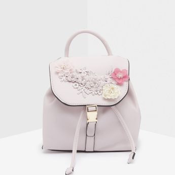 Missy Floral Embellished Backpack with Flap