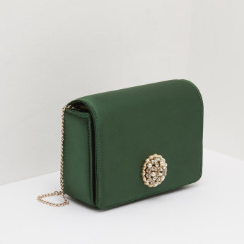 Crossbody Bag with Embellished Metal Accent