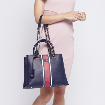 ELLE Stripe Logo Tote Bag with Snap Button Closure