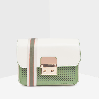Elle Perforated Crossbody Bag with Detachable Strap