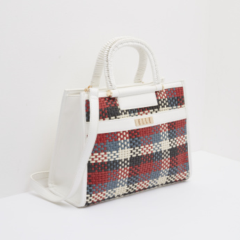 ELLE Weave Detail Tote Bag with Snap Button Closure