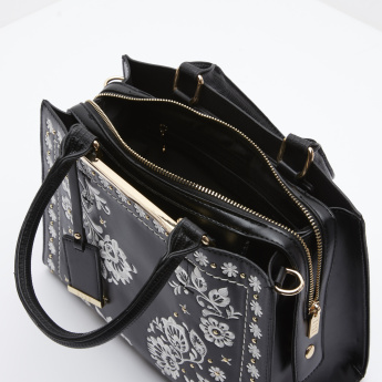 Elle Contrast Embroidered Tote Bag