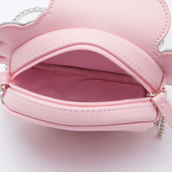 Applique Detailed Handbag with Zip Closure