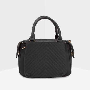 Celeste Quilted Handbag with Zip Closure and Detachable Strap