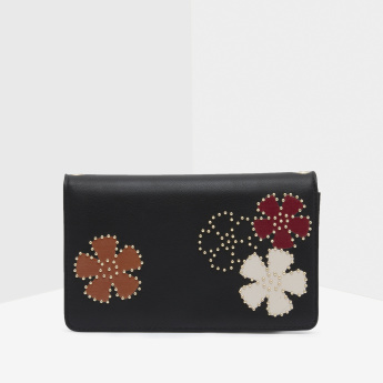 Wallet with Chain Strap and Studded Floral Applique