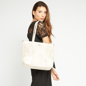 Celeste Cutwork Tote Bag with Zip Closure