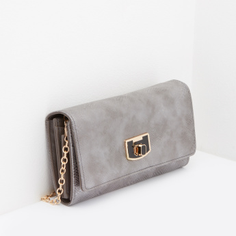 Celeste Textured Long Wallet with Detachable Metallic Chain