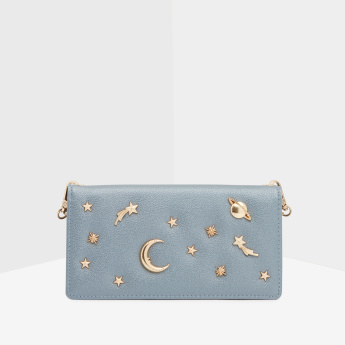 Celeste Embellished Wallet with Crossbody Chain Strap