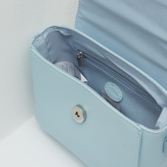 Applique Detail Satchel Bag with Magnetic Button Closure