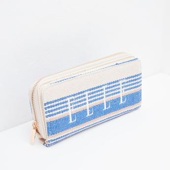 Elle Flap Over Wallet with Woven Stripes