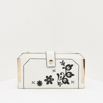 ELLE Long Wallet with Embroidery Detail