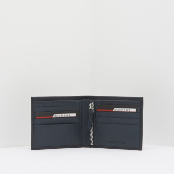 Duchini Textured Bi-Fold Wallet with Zip Pocket