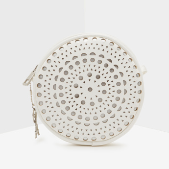 ELLE Laser Cut Detail Crossbody Bag with Charms and Zip Closure