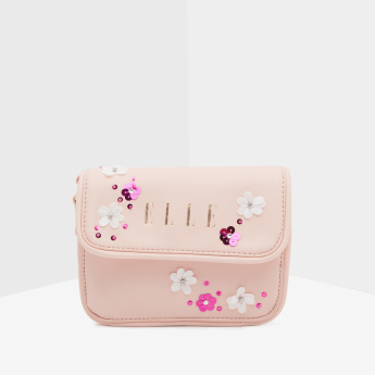 ELLE Embellished Hand Bag with Magnetic Button Closure