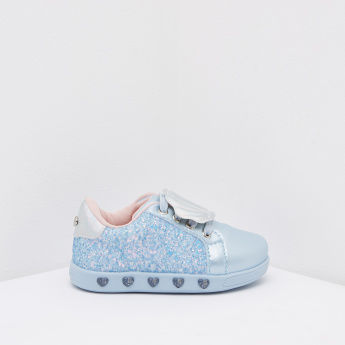 Pampili Sneakers with Glitter Finish and Shell Applique