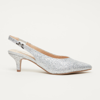 9a780b261a3f Missy Glitter Slingback Shoes with Elasticised Backstrap