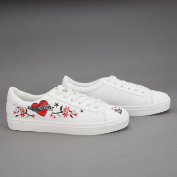 Missy Embroidered Lace-Up Sneakers