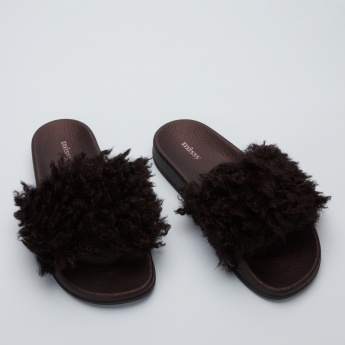 Missy Textured Slides with Plush Detail