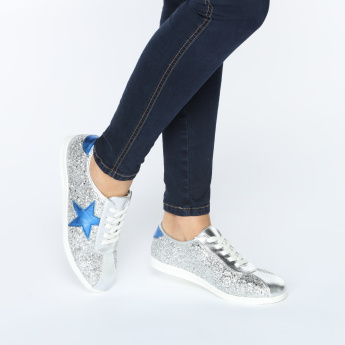 Missy Lace-Up Sneakers with Applique Detail