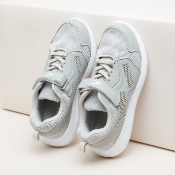Textured Lace-Up Sneakers with Hook and Loop Strap