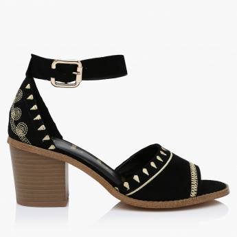 Elle Embroidered Block Heels with Buckle Closure