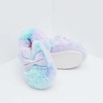 Fur Slides with Slip-On Closure with Bow Accent