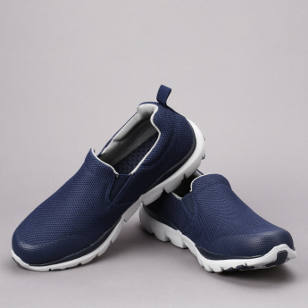 Dash Textured Slip-On Walking Shoes with Elasticised Gussets
