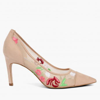 Elle Embroidered Stilettos with Mesh Detail