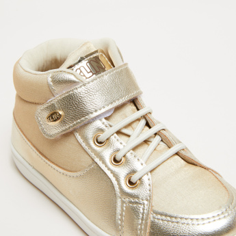Klin Stitch Detail High Top Shoes with Hook and Loop Closure