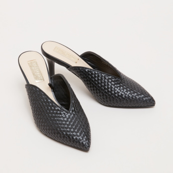 Weave Pattern Mules with Stiletto Heels