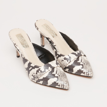 Printed Slip-On Shoes with Stiletto Heels