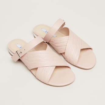 Elle Embossed Cross Strap Sandals with Buckle Closure