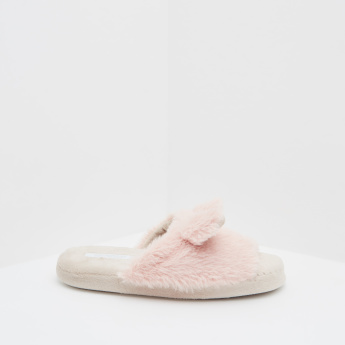 Fur Slides with Slip-On Closure and Animal Ear Accent