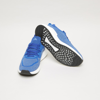 Textured Lace-Up Walking Shoes with Printed Pull Tab