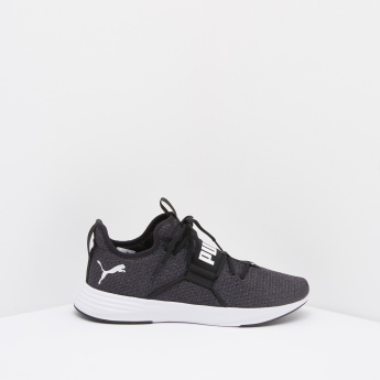 16790503b PUMA Textured Lace-Up Sneakers with Vamp Band | Black | Sneakers