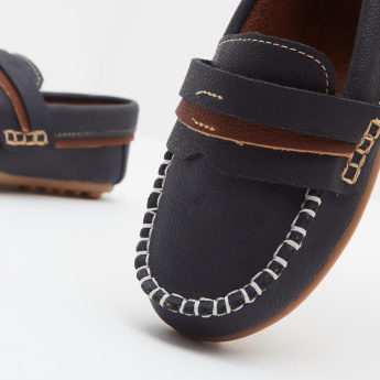 Klin Slip-On Loafers with Stitch and Tape Detail