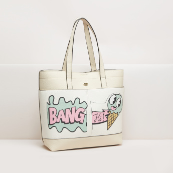Missy Printed Tote Bag with Magnetic Snap Closure and Twin Handles