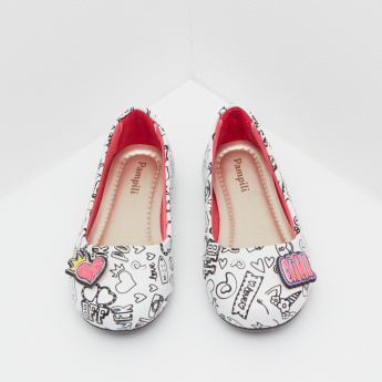 Pampili Printed Ballerina Shoes with Slip-On Closure