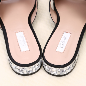 Celeste Slides with Flower Applique