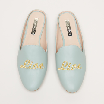 Paprika Text Embroidered Slip-On Mules