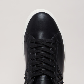 Lee Cooper Lace-Up Sneakers with Stud Detail